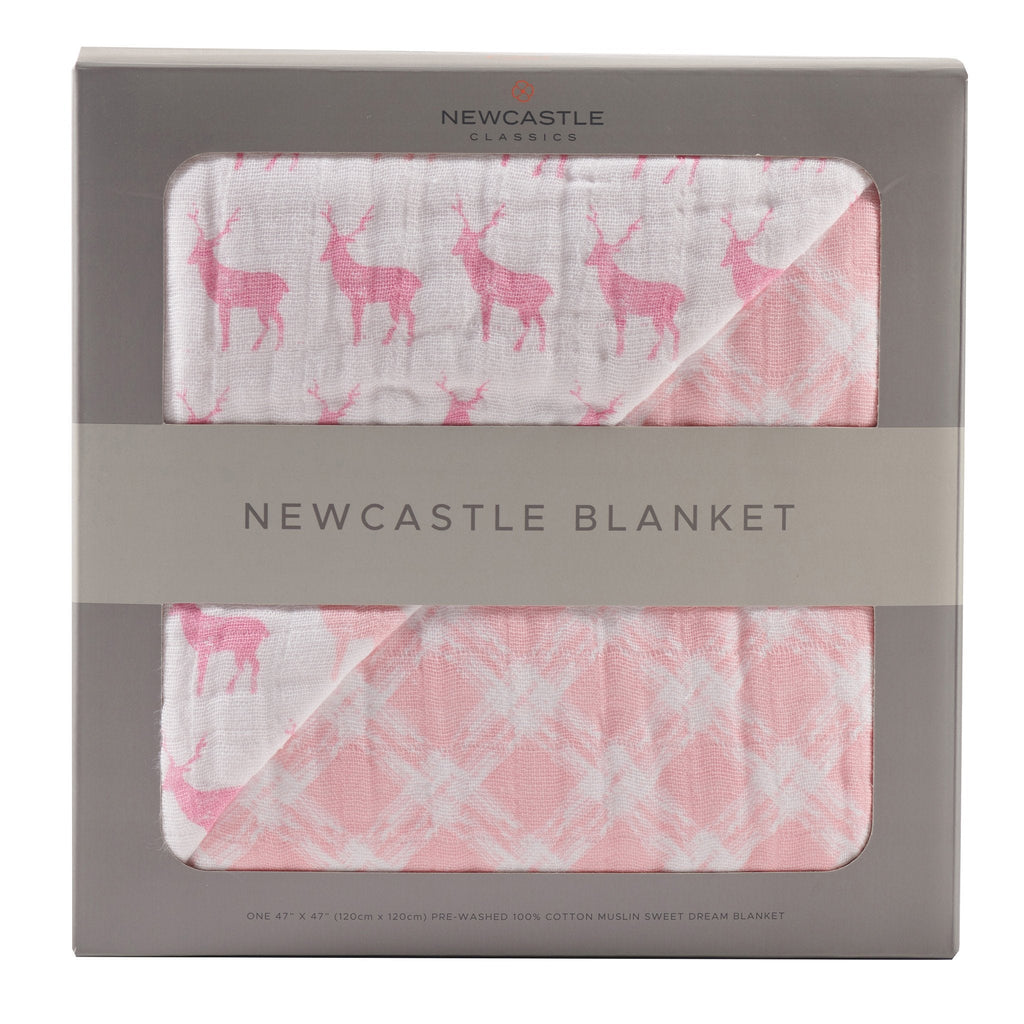 Pink Deer & Primrose Pink Plaid Newcastle Blanket  -