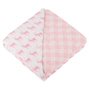 Pink Deer and Primrose Pink Plaid Newcastle Blanket