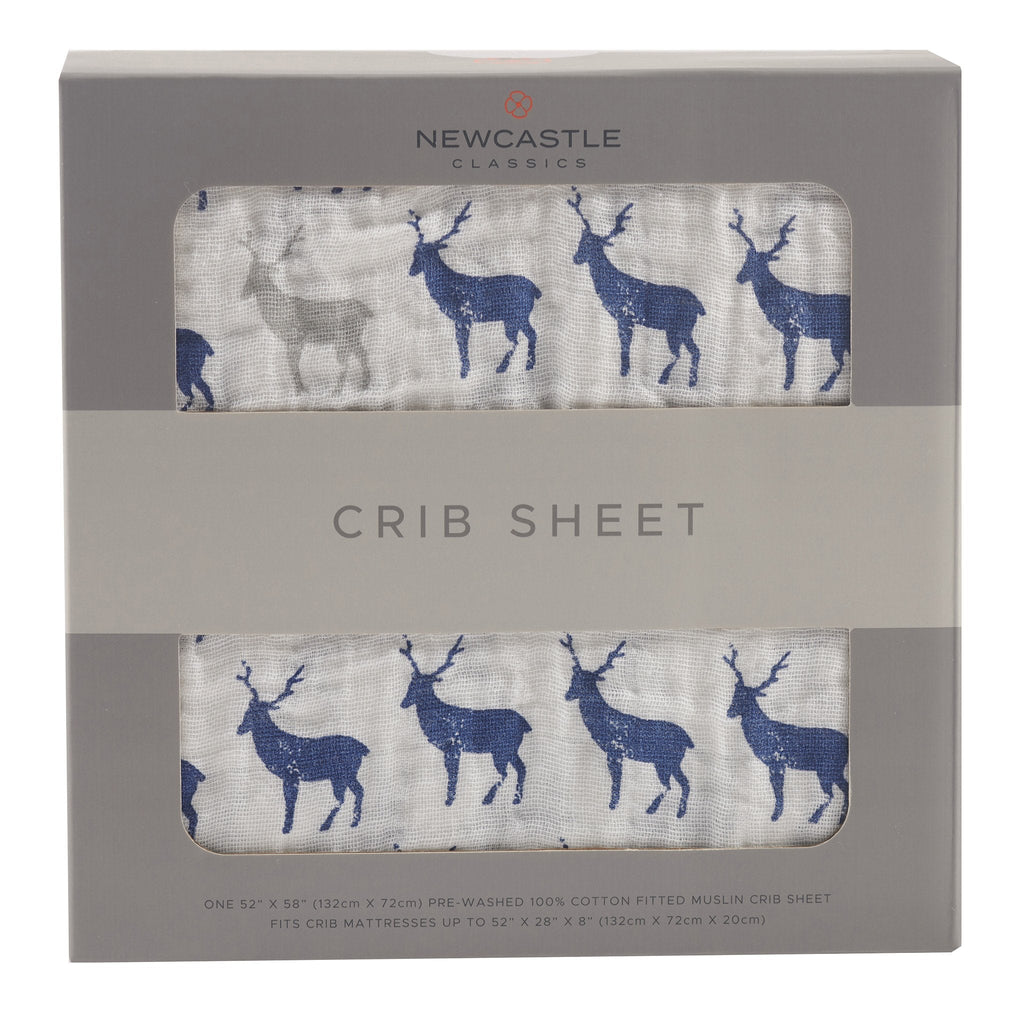 Blue Deer Crib Sheet by Newcastle Classics  -