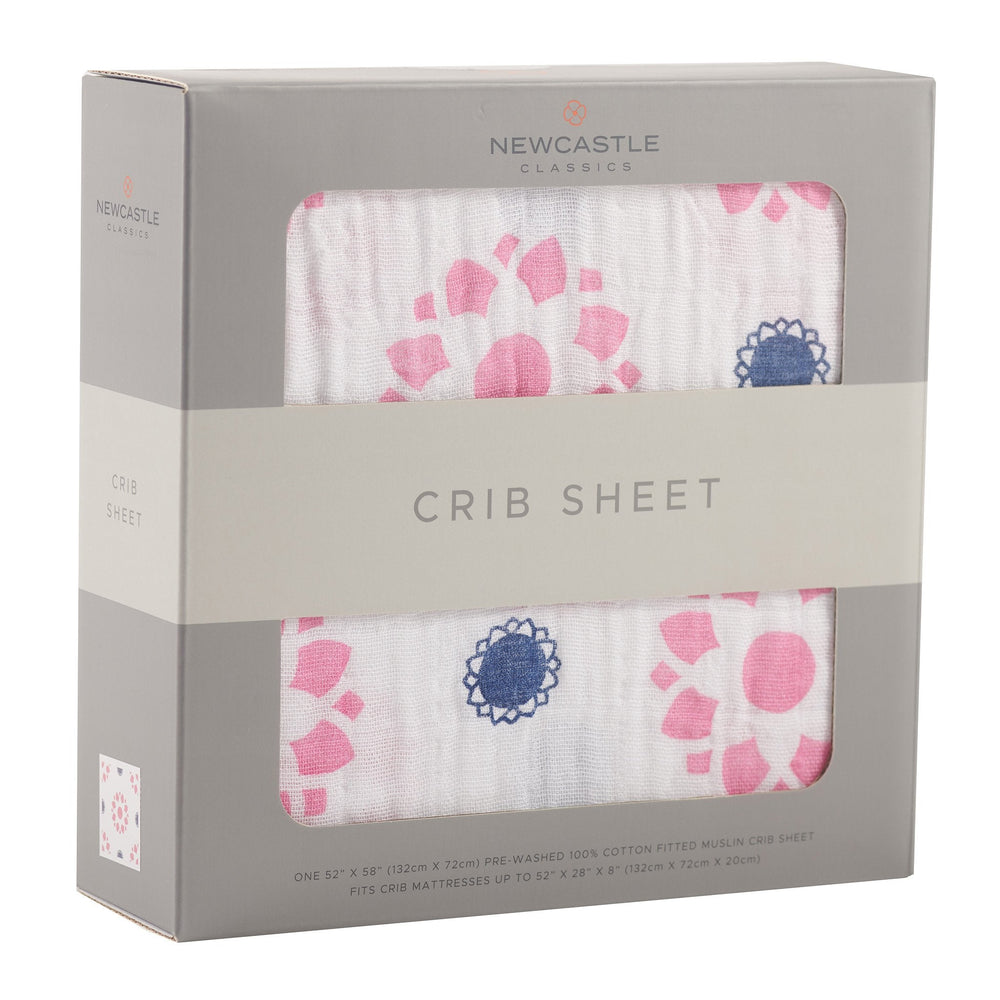 Primrose and Indigo Crib Sheet