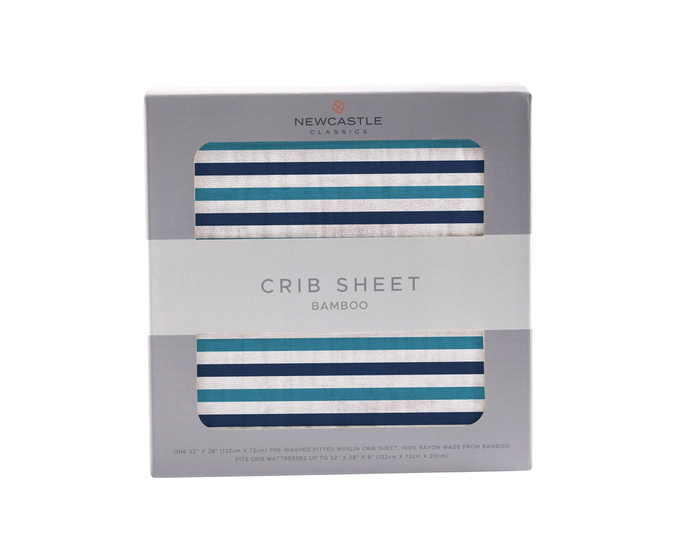 Blue and White Stripe Crib Sheet