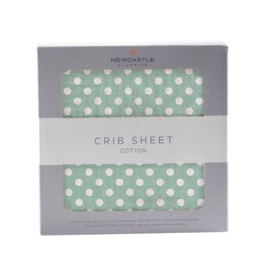 Jade Polka Dot Crib Sheet
