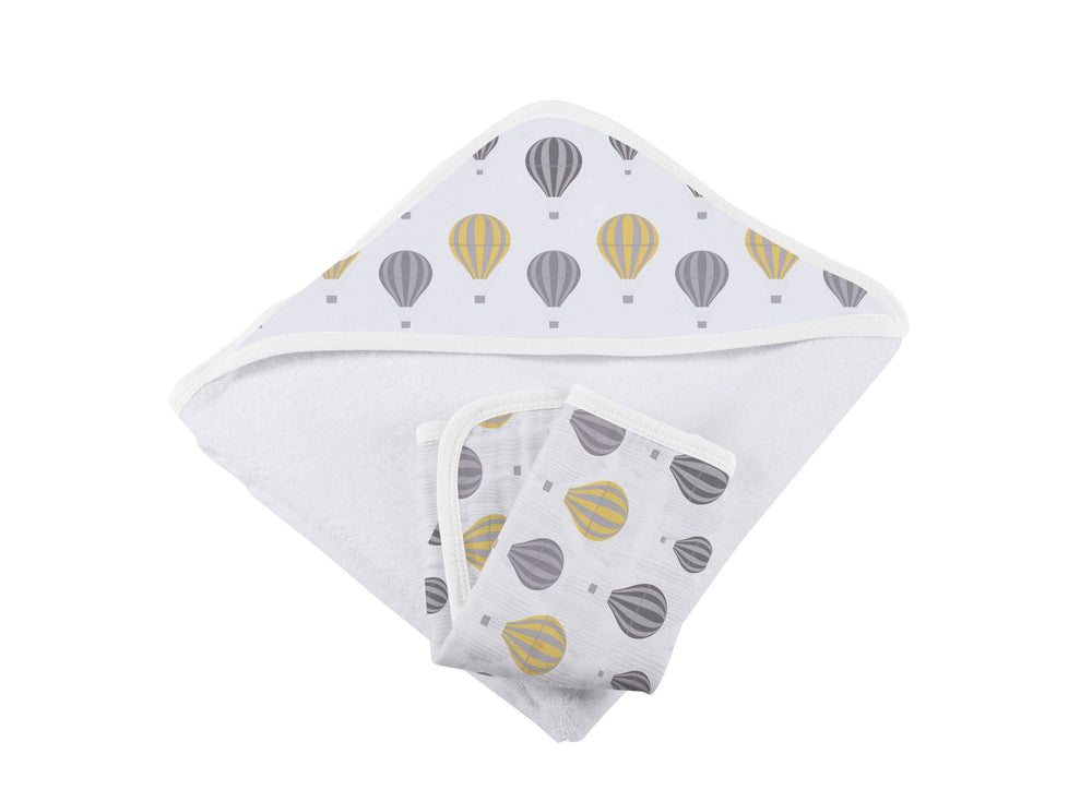 Hot Air Balloon Hooded Towel and Washcloth Set