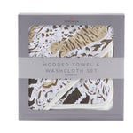 Animal Print Hooded Towel and Washcloth Set