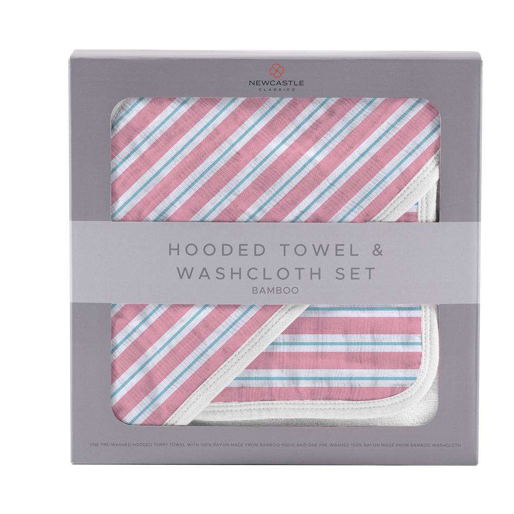 Candy Stripe Hooded Towel and Washcloth Set