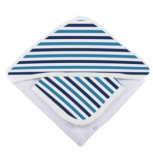 Blue and White Stripe Hooded Towel and Washcloth Set