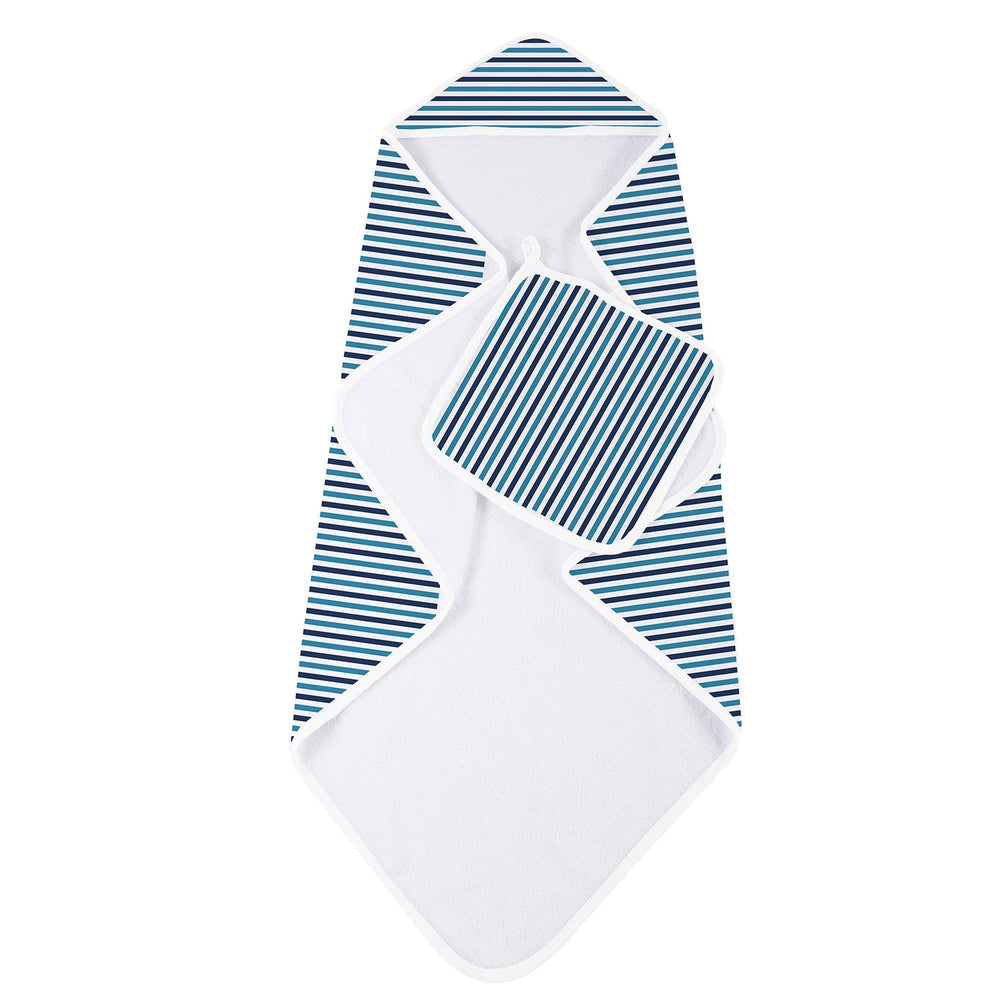 Blue and White Stripe Bamboo Hooded Towel and Washcloth Set