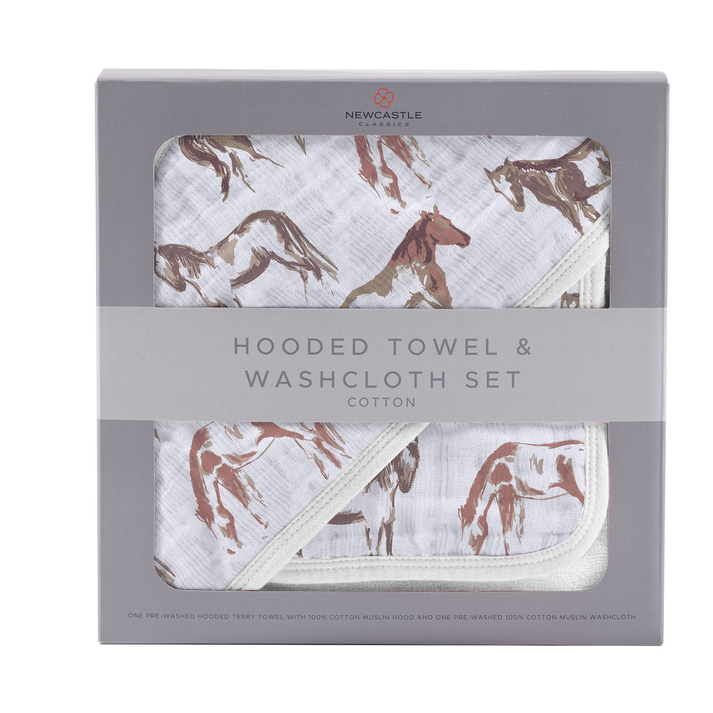 Wild Horses Hooded Towel and Washcloth Set
