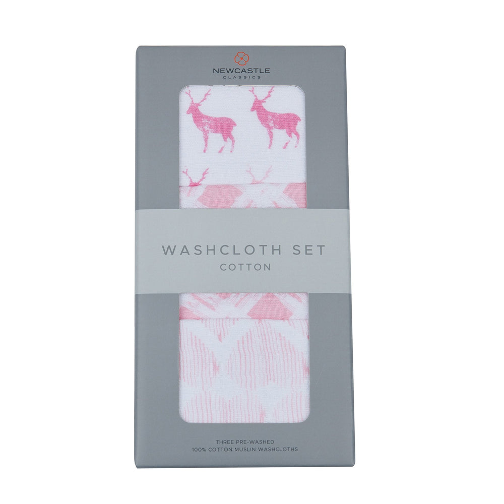 Pop of Pink Cotton Washcloth Set 3PK