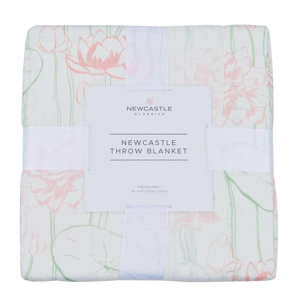 Water Lily Bamboo Throw Blanket