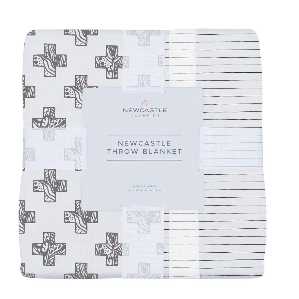 Nordic Stamp and Pencil Stripe Bamboo Muslin Newcastle Throw Blanket