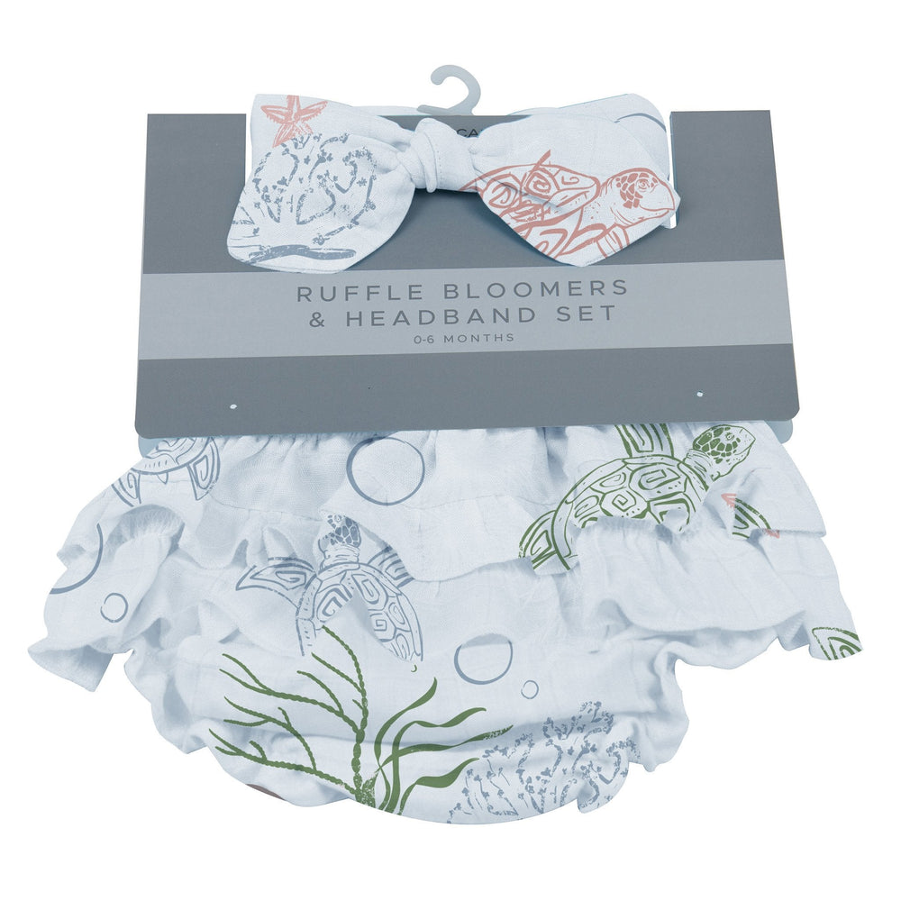 Turtles Ruffle Bamboo Bloomer Headband Set