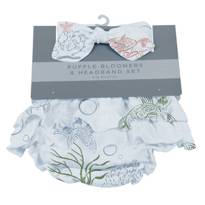Turtles Ruffle Bloomers and Headband Set