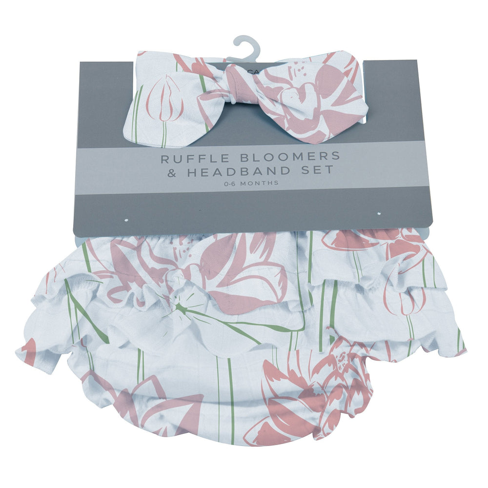 Water Lily Ruffle Bamboo Bloomer Headband Set