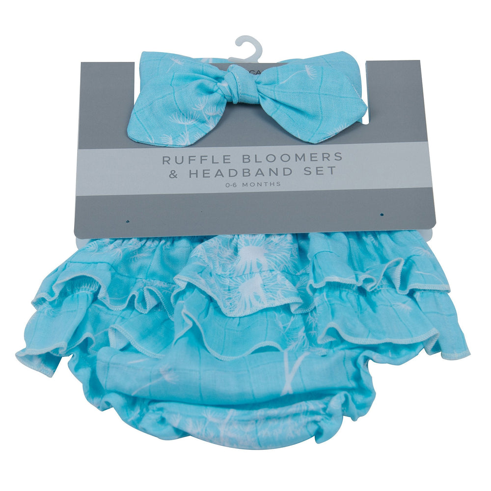 Dandelion Seeds Ruffle Bamboo Bloomer Headband Set