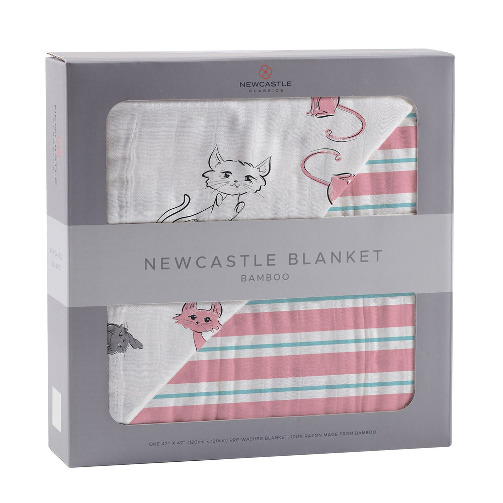Playful Kitty and Candy Stripe Newcastle Blanket