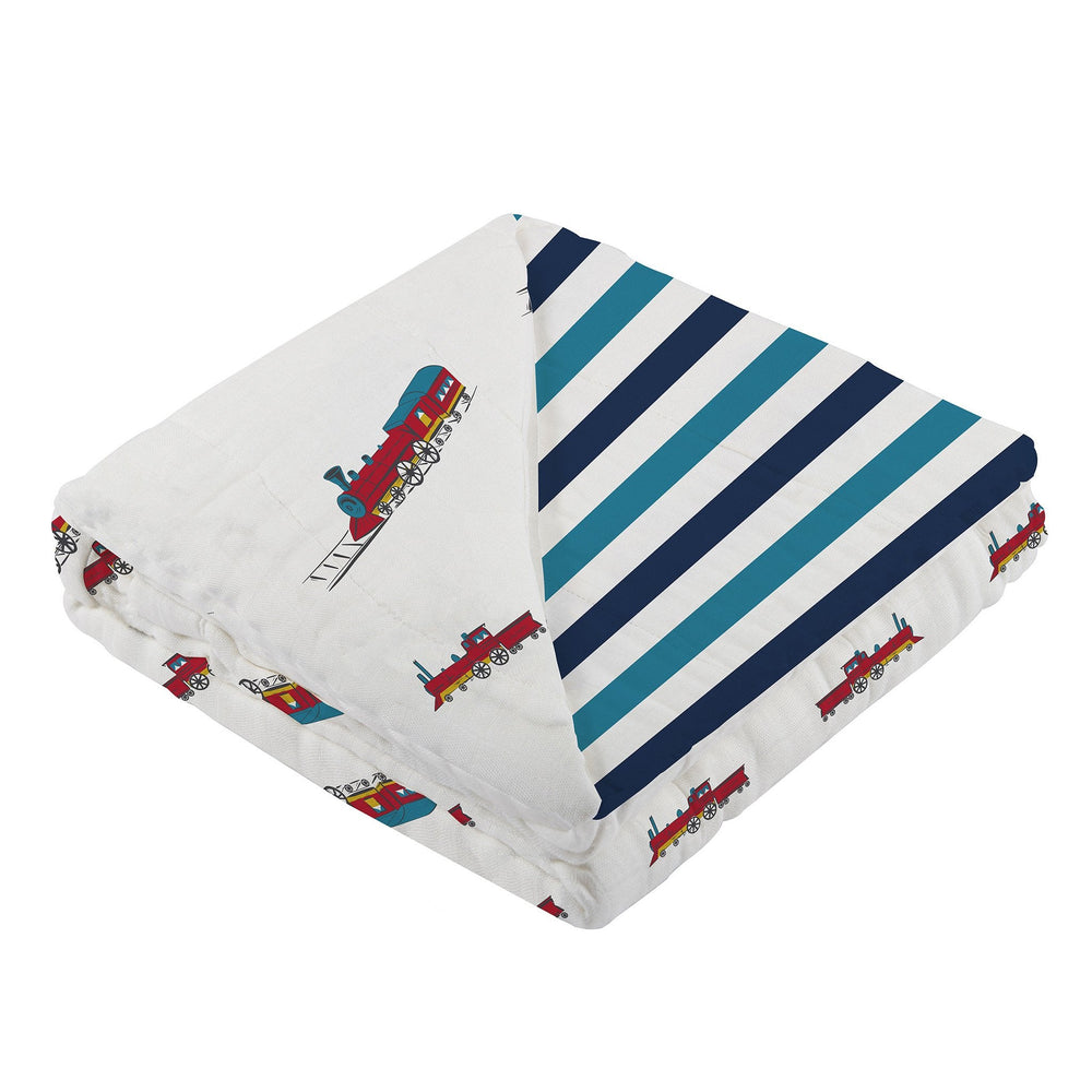 Vintage Steam Trains and Blue Stripe Newcastle Blanket