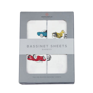 Vintage Muscle Cars and Vintage Motorcycles Bassinet Sheets