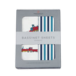 Vintage Steam Trains and Blue and White Stripe Bassinet Sheets