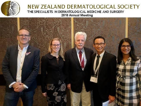 Dr. Frederick Menick,  keynote speaker at the New Zealand Dermatological Society's annual conference 2018, with Dr. Eugene Tan and Dr. Maneka Deo