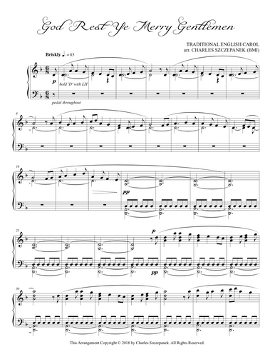 God Rest Ye Merry Gentlemen-Sheet Music for Solo Piano