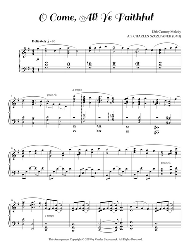 O Come, All Ye Faithful-Sheet Music for Solo Piano