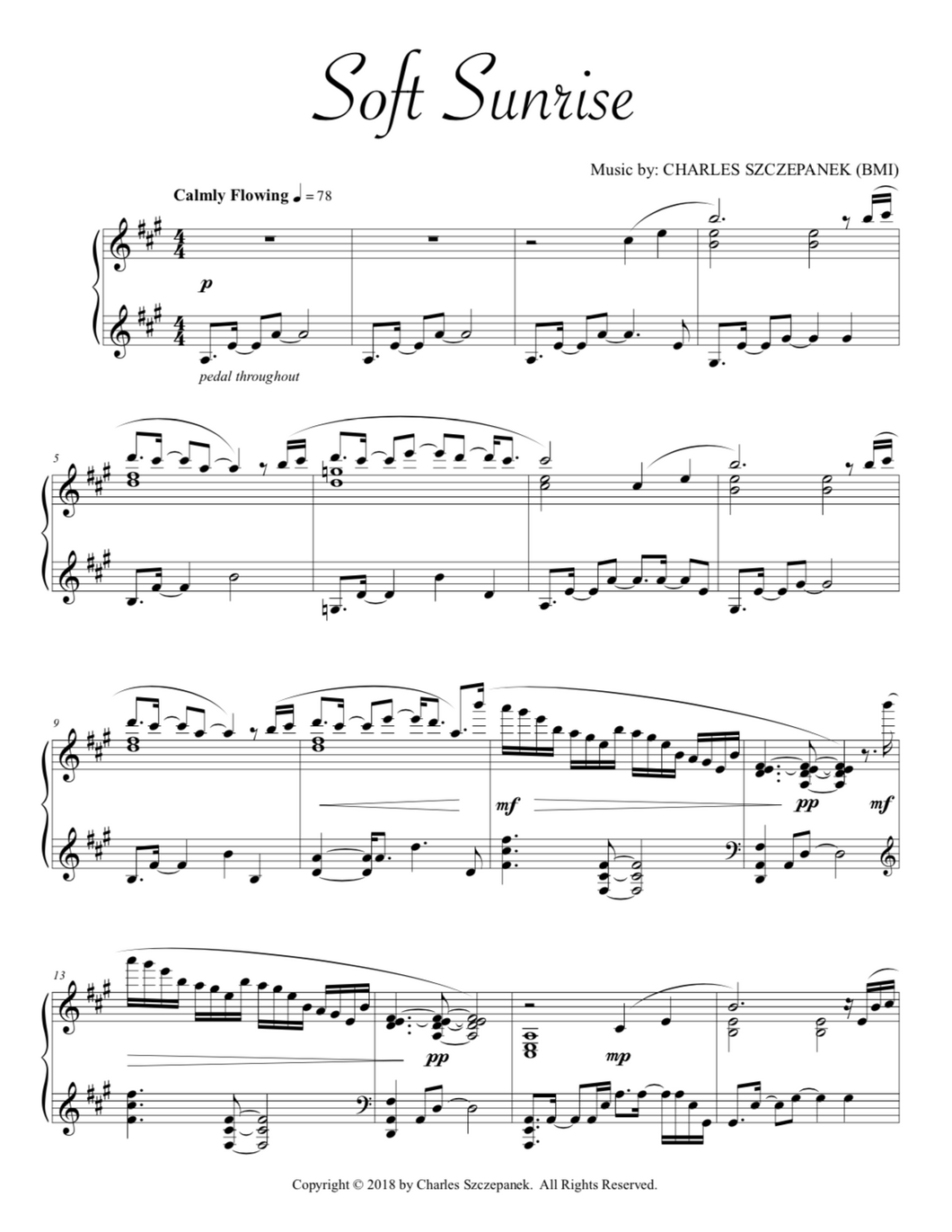 Soft Sunrise-Sheet Music for Solo Piano