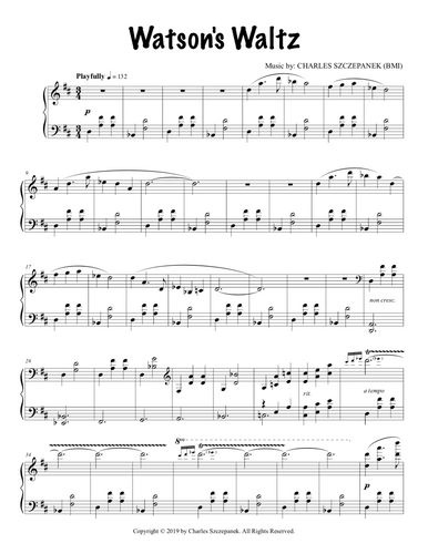 Watson's Waltz - Sheet Music for Solo Piano