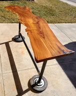 Russian Olive Live Edge High-top Table with repurposed metal base