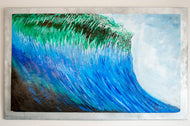 blue green ocean wave acrylic painting of distressed woodon wood