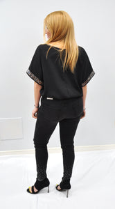 DROP SHOULDER WOVEN TOP WITH SEQUINED SLEEVE TRIM DETAIL