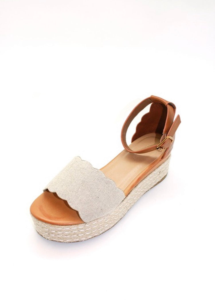 SANDAL WAVY DETAILED ESPADRILLE ANKLE STRAP WITH BUCKLE