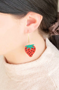 STRAWBERRY HOOK EARRINGS