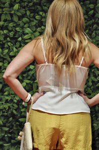 SCALLOP PEPLUM WRAP TAN TOP