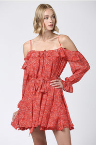 (Pre-Order) DITSY FLORAL PRINT COLD SHOULDER RUFFLE DRESS