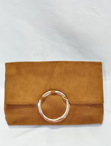 LARC FOLDABLE CLUTCH WITH A GOLD RING