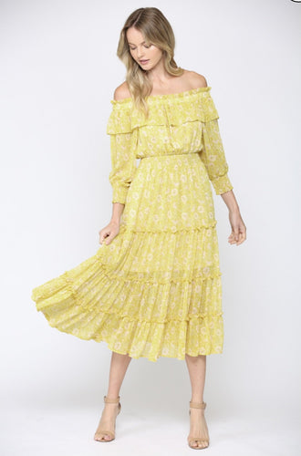 (Pre-Order) TIERED OFF-SHOULDER RUFFLE DRESS
