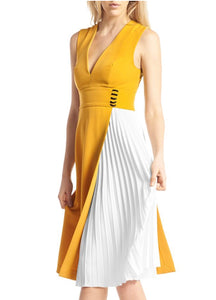 ONE SIDE PLEATS LAYERED SLEEVELESS DRESS