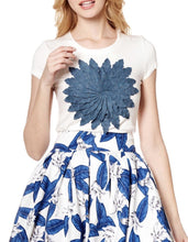 DENIM FLOWER SHORT SLEEVE TOP