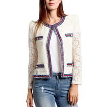 DENIM TRIM JACKET WITH LACE CONTRAST