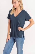 V NECK SHORT SLEEVE MODAL POLY KNIT