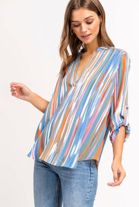 PRINT V-NECK TUNIC BLOUSE