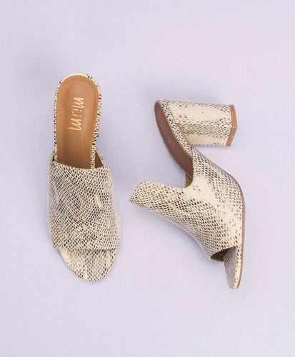 CROWN BEIGE / SNAKEPRINT CHUNKY HEEL