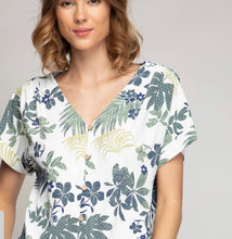 CAP SLEEVE BUTTON DOWN IN LEAF