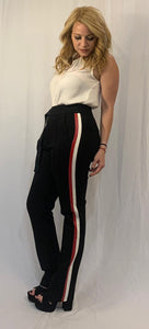 Pants w/ Pleather Side Trim And Front Belt
