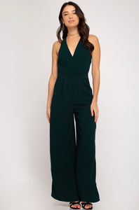 SLEEVELESS SURPLICE WIDE LEG WOVEN JUMPSUIT WITH POCKETS
