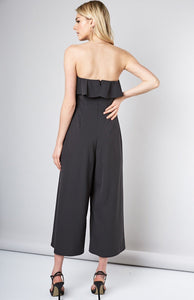 OPEN SHOULDER RUFFLE DETAIL JUMPSUIT