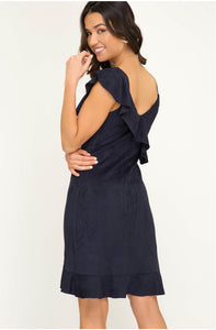 ONE SHOULDER FAUX SUEDE WITH RUFFLE DETAIL DRESS