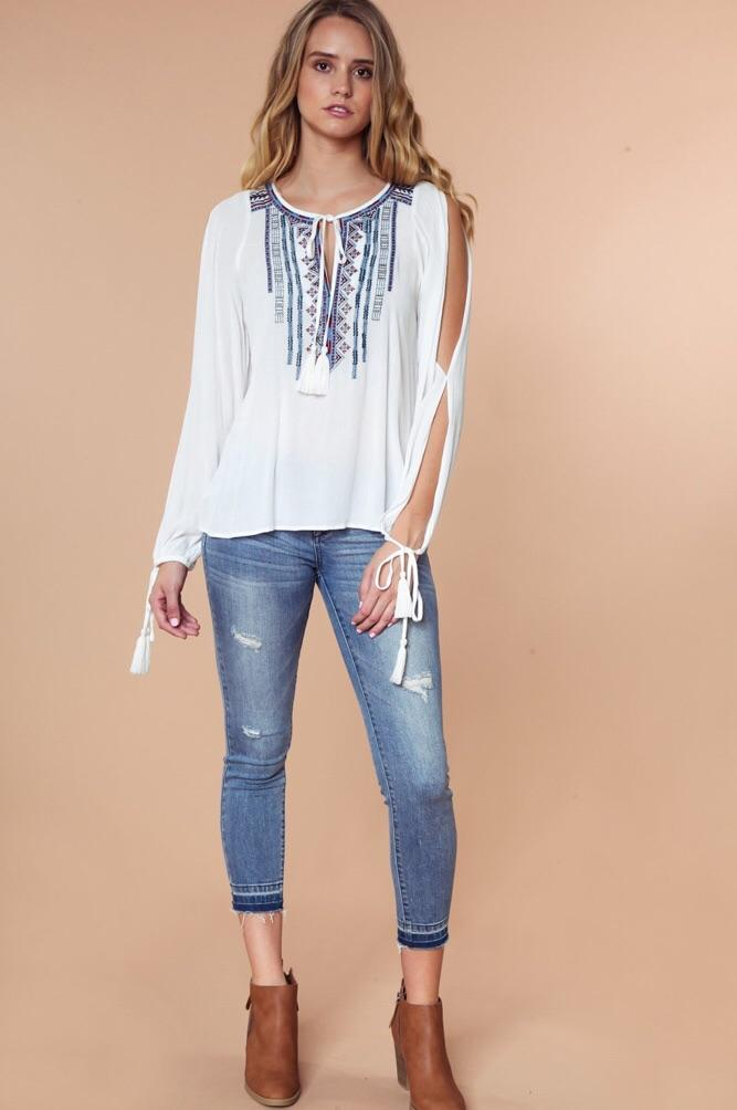 COLD SHOULDER EMBROIDERED BLOUSE