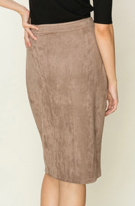 SUEDETTE PENCIL CUT MIDI SKIRT